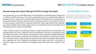 Riverside Garage Door Experts Offering $75.00 Off On Garage
