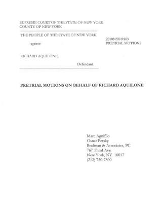 Richard Aquilone Pretrial Letter