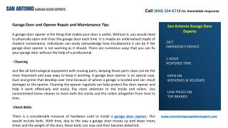 Garage Door and Opener Repair and Maintenance Tips