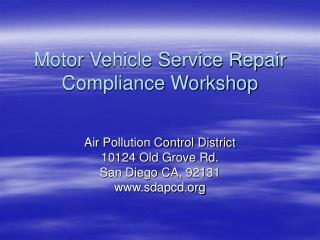 Motor Vehicle Service Repair Compliance Workshop