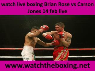 watch live boxing Brian Rose vs Carson Jones 14 feb live