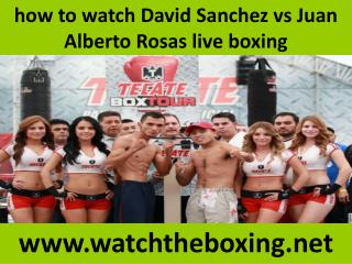 how to watch David Sanchez vs Juan Alberto Rosas live boxing