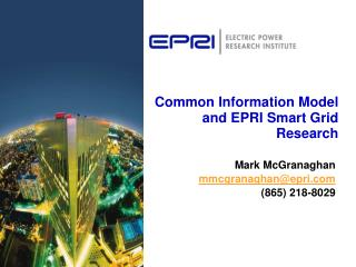 Common Information Model and EPRI Smart Grid Research
