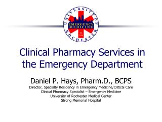 Clinical Pharmacy Services in the Emergency Department