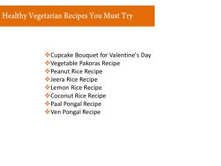 Healthy Vegetarian Recipes and Menus