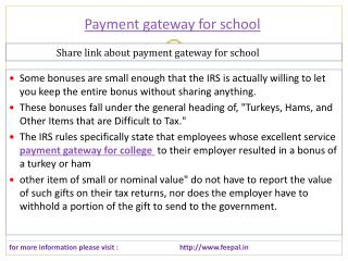 Fee problem solution with payment gateway for school
