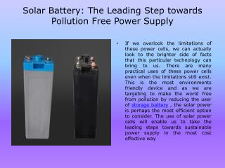 Solar Battery The Leading Step towards Pollution Free Power