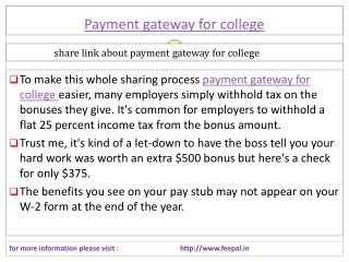 Fee problem solution with payment gateway for college
