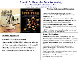 Atomic  Molecular Nanotechnology G. Ali Mansoori, Bio  Chem Eng; Dept.s Prime Grant Support: ARO, KU, UMSL, ANL