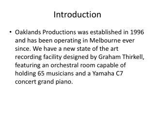 Oaklands Productions