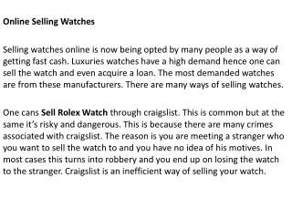 Sell Rolex Watch For Cash