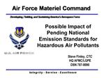 Possible Impact of Pending National Emission Standards for Hazardous Air Pollutants