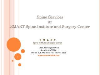 Spine Services at SMART Spine Institute & Surgery Center