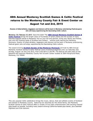 48th Annual Monterey Scottish Games & Celtic Festival