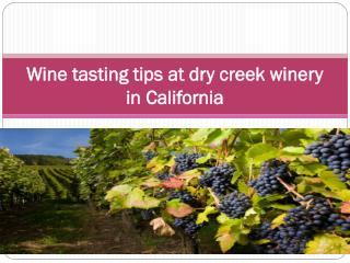 Wine tasting tips at dry creek winery in California