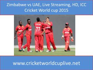 Zimbabwe vs UAE, Live Streaming, HD, ICC Cricket World cup 2