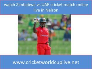 watch Zimbabwe vs UAE cricket match online live in Nelson