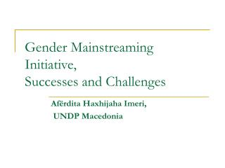 Gender Mainstreaming Initiative, Successes and Challenges