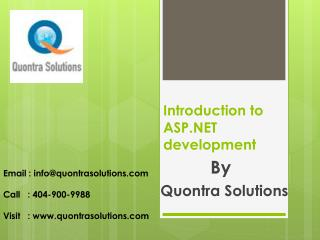 Introduction to ASP .NET Introduction by QuontraSolutions