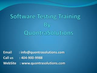 Software Quality Assurance Training by Quontra Solutions