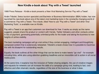 New Kindle e-book about 'Pay with a Tweet' launched