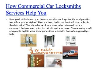 How Commercial Car Locksmiths Services Help You