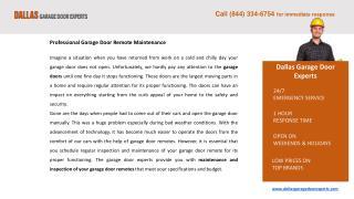 Garage Door Remote Repair Services Dallas