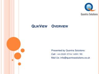 QlikView Training Classes by Quontra Solutions