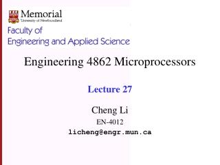 Engineering 4862 Microprocessors  Lecture 27