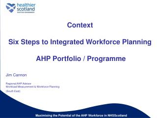 Context  Six Steps to Integrated Workforce Planning   AHP Portfolio