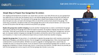 Simple Ways to Prepare Your Garage Door for winters