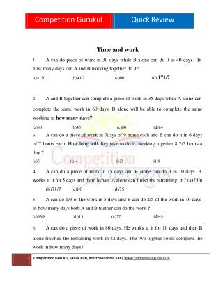 44 Time and Work Problems - Competition Gurukul