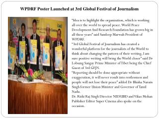 WPDRF Poster Launched at 3rd Global Festival of Journalism