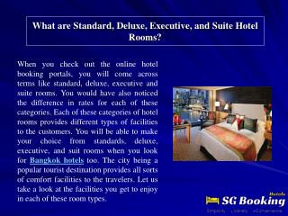 What are Standard, Deluxe, Executive, and Suite Hotel Rooms?