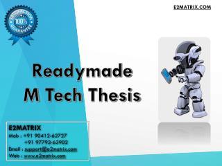 Readymade M Tech Thesis