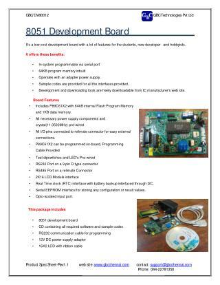 8051 Development Board GBC Technologies