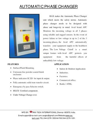 Automatic Phase Changer - GBC Technology