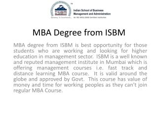 MBA degree from ISBM