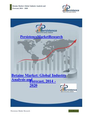 Global Betaine Market Analysis and Forecast to 2020