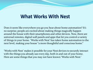 What Works With Nest