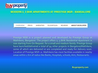 Buy Luxury Apartments at Prestige MSR - Bangalore