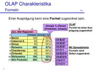 OLAP Charakteristika  Formeln  1