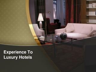Experience to Luxury Hotels