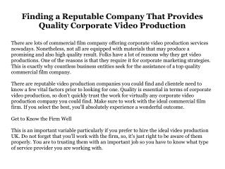 Finding a Reputable Company That Provides Quality Corporate