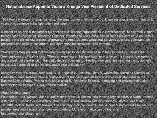NationaLease Appoints Victoria Kresge Vice President