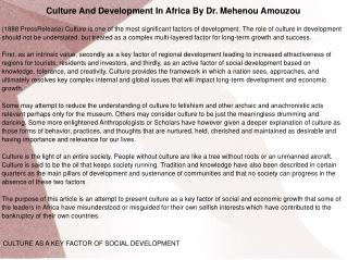 Culture And Development In Africa By Dr. Mehenou Amouzou