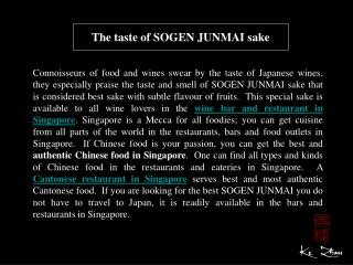 The taste of SOGEN JUNMAI sake