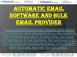 Automatic Email Software And Bulk Email Provider