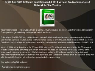 EzW2 And 1099 Software Just Released A 2014 Version