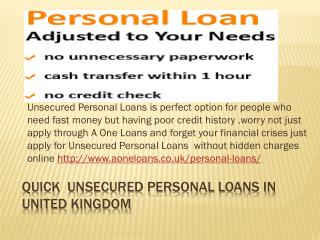 Quick  Unsecured Personal Loans in United Kingdom